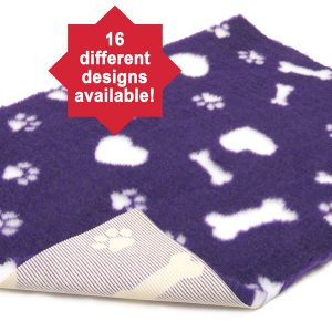 Non-Slip Vetbed Purple with white hearts bones and paws