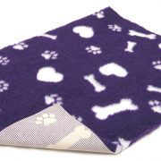Non-Slip Vetbed Purple with White Paws, Bones and Hearts