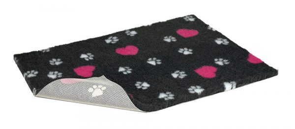 Non-Slip Vetbed - Charcoal With Cerise Hearts And White Paws