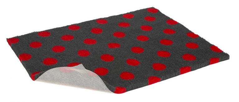 Vetbed Non-Slip - Polka Dot - Charcoal & Red