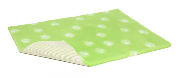Non-Slip Vetbed - Lime Green With White Paws